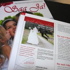 Hochzeitsmesse in der Halle Messe am 23./24. Januar 2016 und neues Magazin Sag Ja!